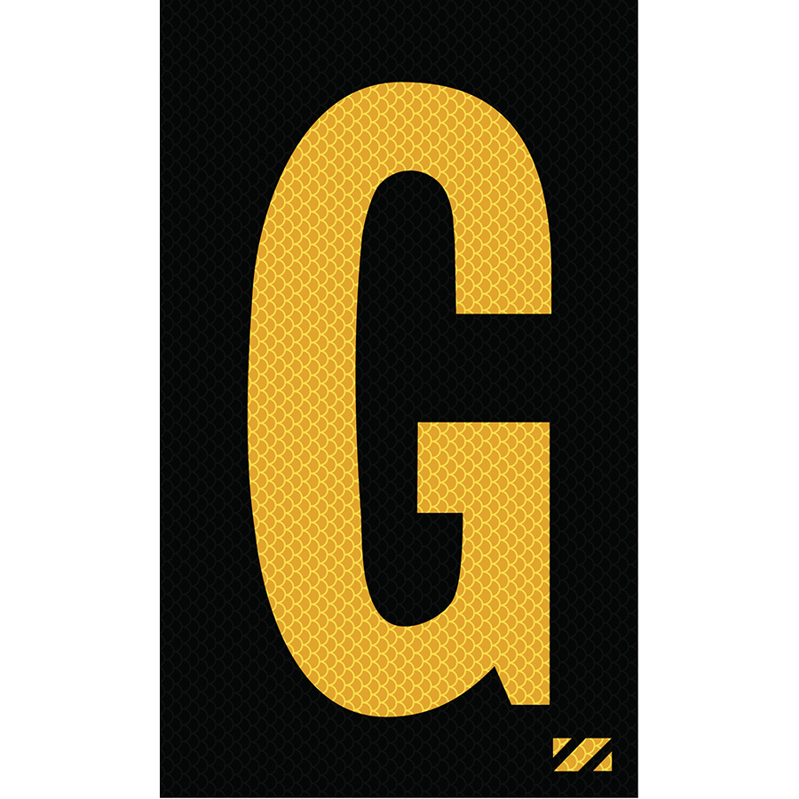 "2"" Yellow on Black High Intensity Reflective ""G"""