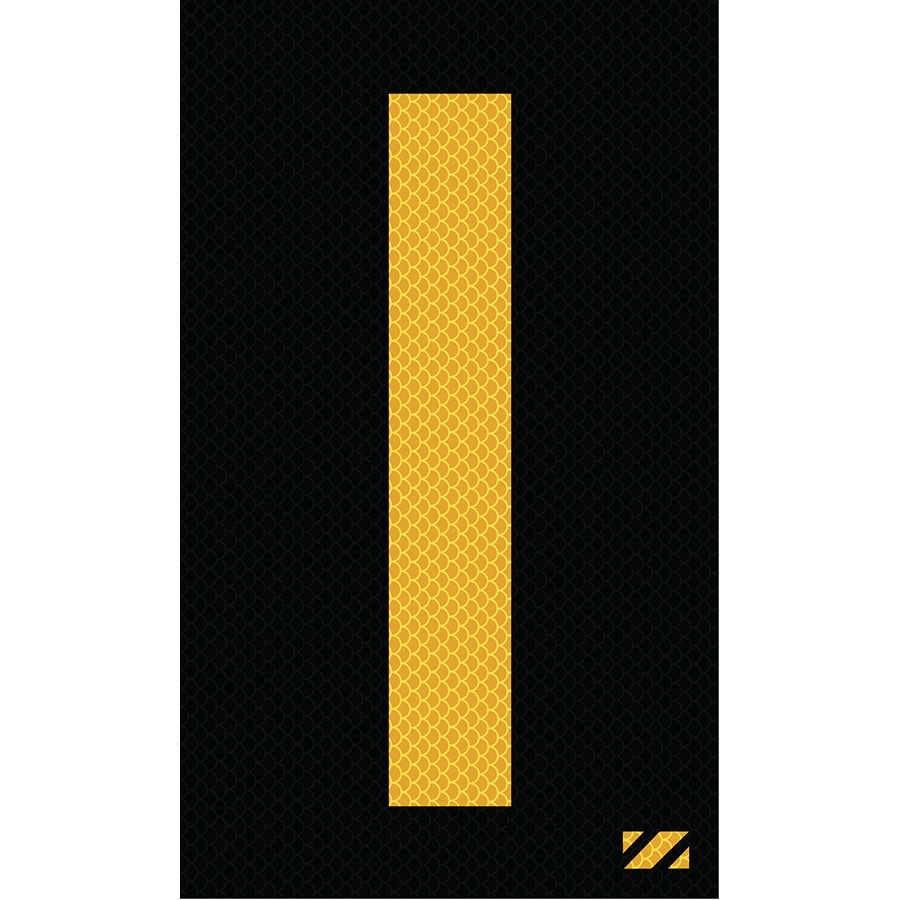 "2"" Yellow on Black High Intensity Reflective ""I"""