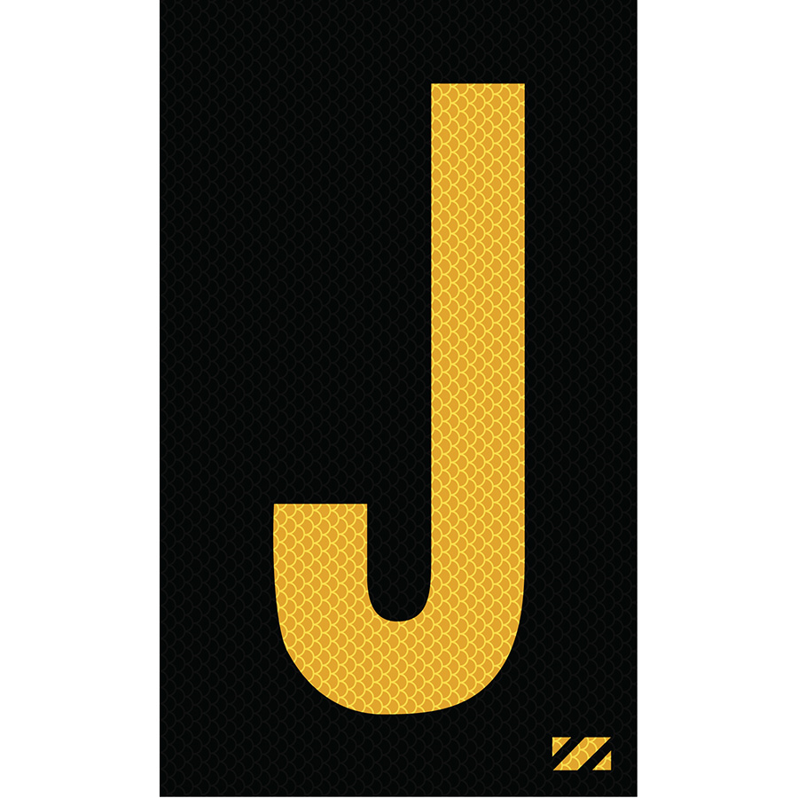 "2"" Yellow on Black High Intensity Reflective ""J"""