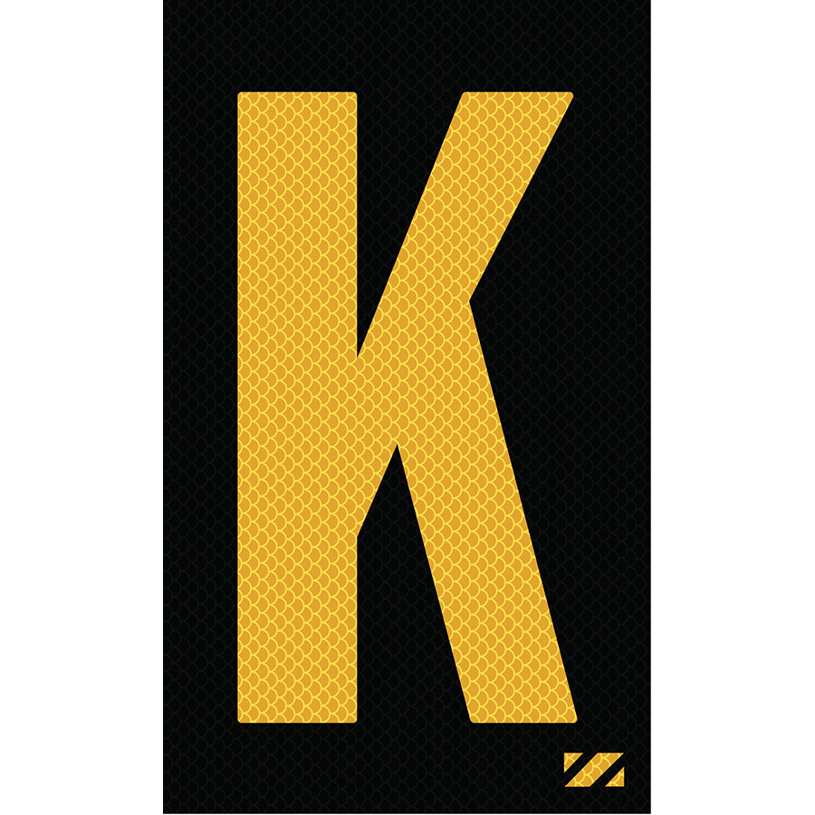 "2"" Yellow on Black High Intensity Reflective ""K"""