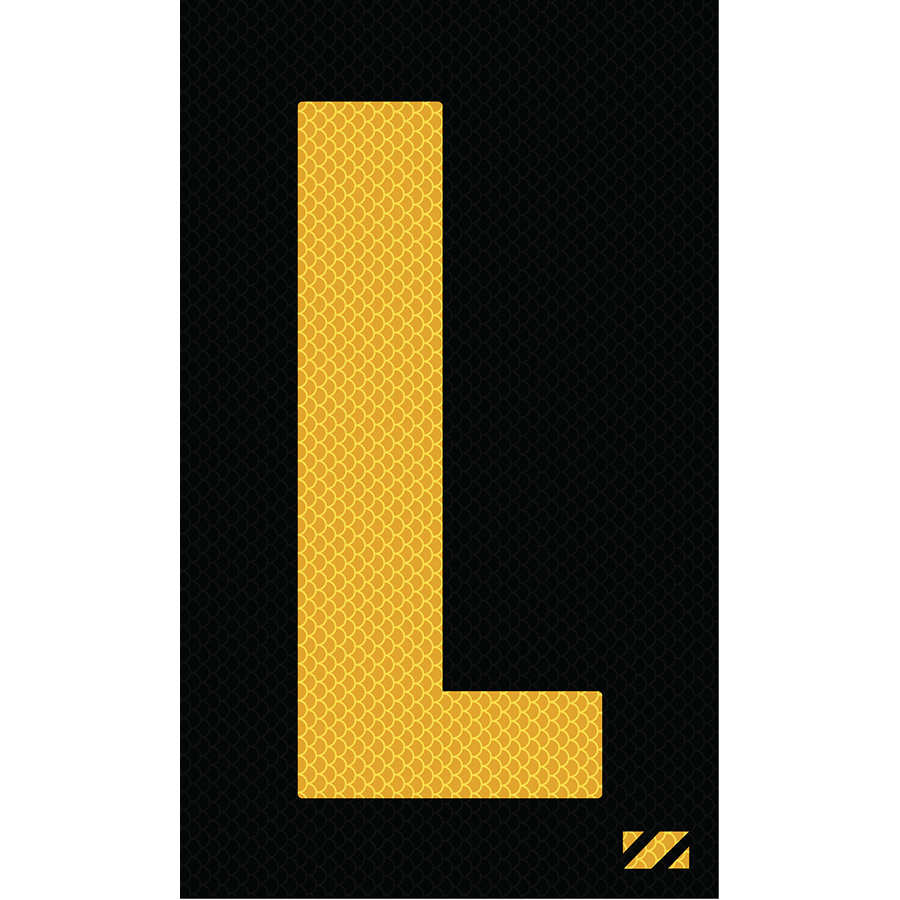 "2"" Yellow on Black High Intensity Reflective ""L"""