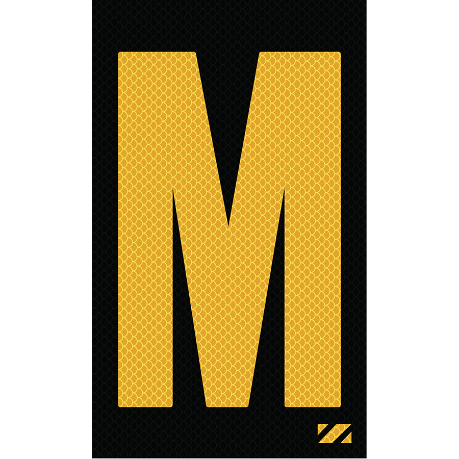 "2"" Yellow on Black High Intensity Reflective ""M"""