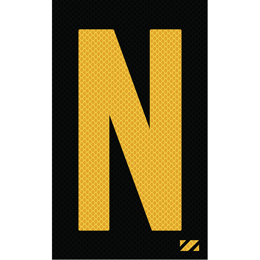 "2"" Yellow on Black High Intensity Reflective ""N"""