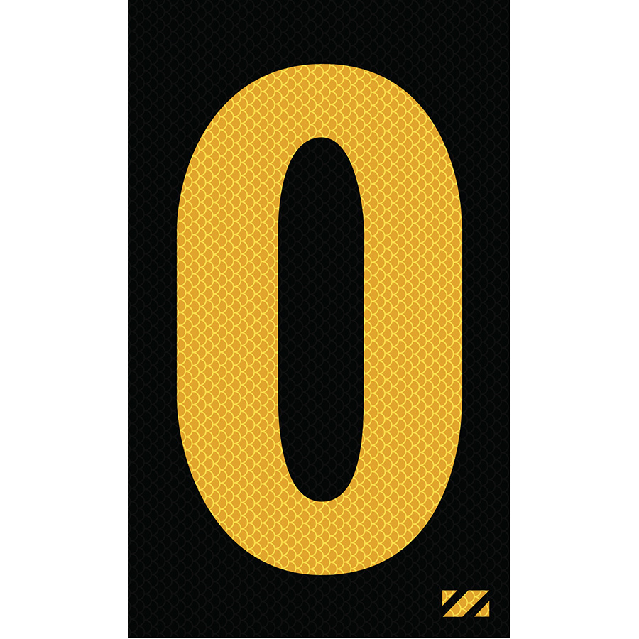 "2"" Yellow on Black High Intensity Reflective ""O"""