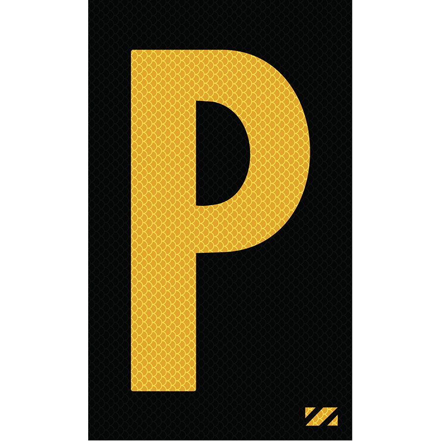 "2"" Yellow on Black High Intensity Reflective ""P"""