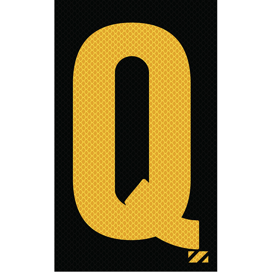 "2"" Yellow on Black High Intensity Reflective ""Q"""