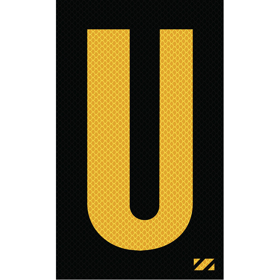 "2"" Yellow on Black High Intensity Reflective ""U"""