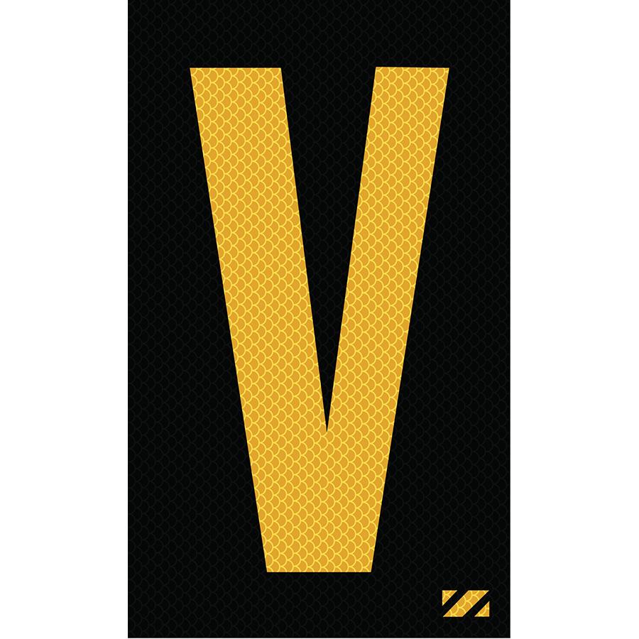 "2"" Yellow on Black High Intensity Reflective ""V"""