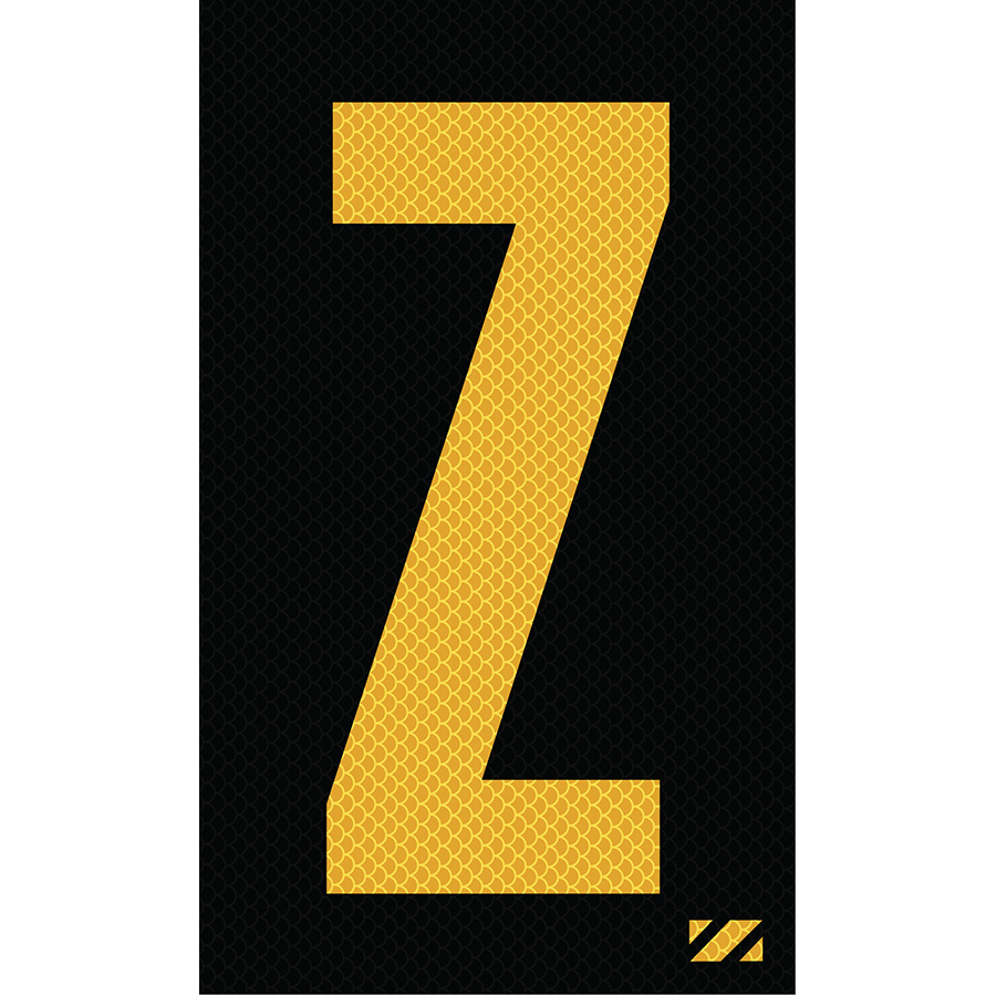 "2"" Yellow on Black High Intensity Reflective ""Z"""
