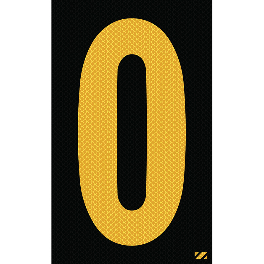 "2.5"" Yellow on Black High Intensity Reflective ""0"""