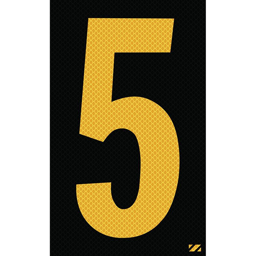 "2.5"" Yellow on Black High Intensity Reflective ""5"""