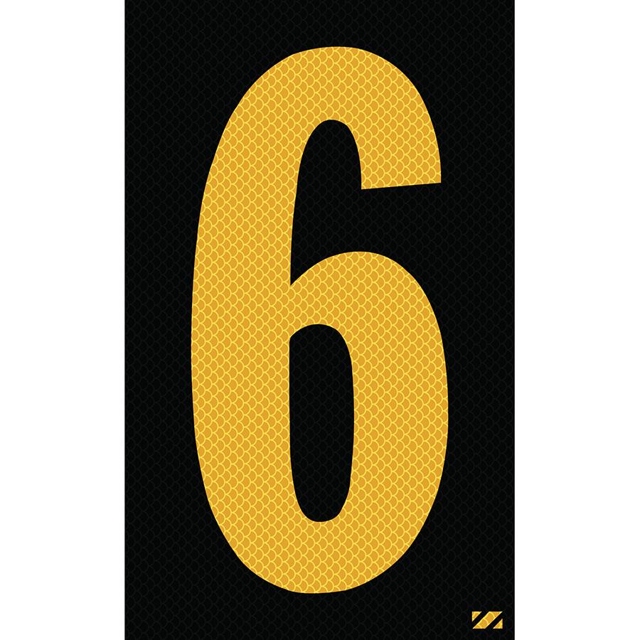 "2.5"" Yellow on Black High Intensity Reflective ""6"""