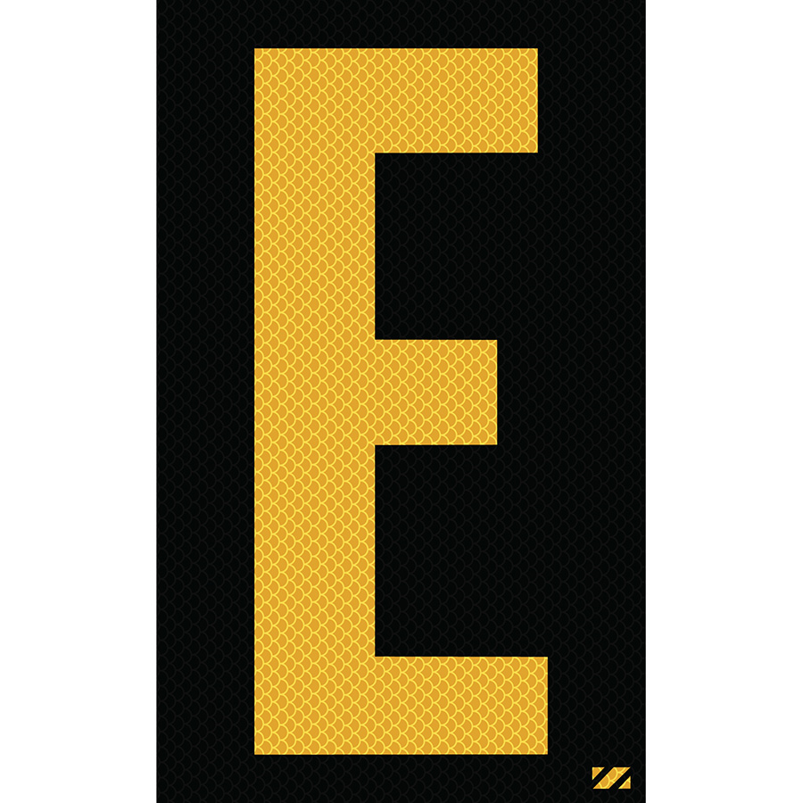 "2.5"" Yellow on Black High Intensity Reflective ""E"""