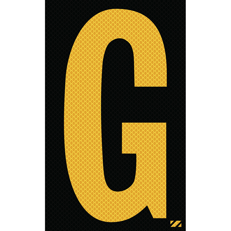"2.5"" Yellow on Black High Intensity Reflective ""G"""