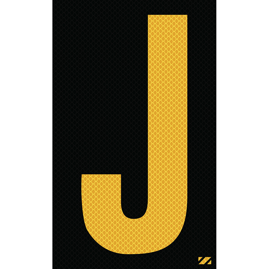 "2.5"" Yellow on Black High Intensity Reflective ""J"""