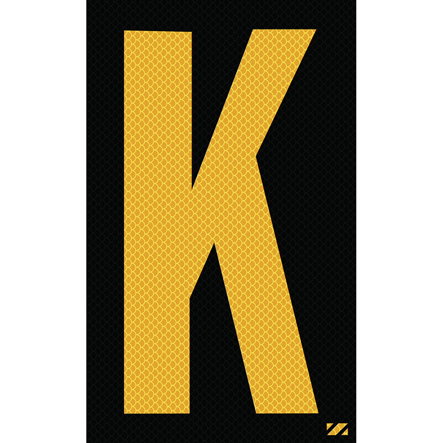 "2.5"" Yellow on Black High Intensity Reflective ""K"""