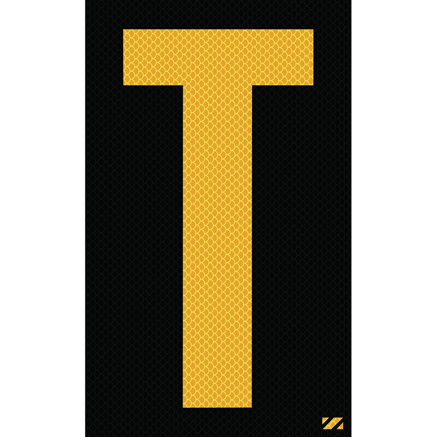"2.5"" Yellow on Black High Intensity Reflective ""T"""