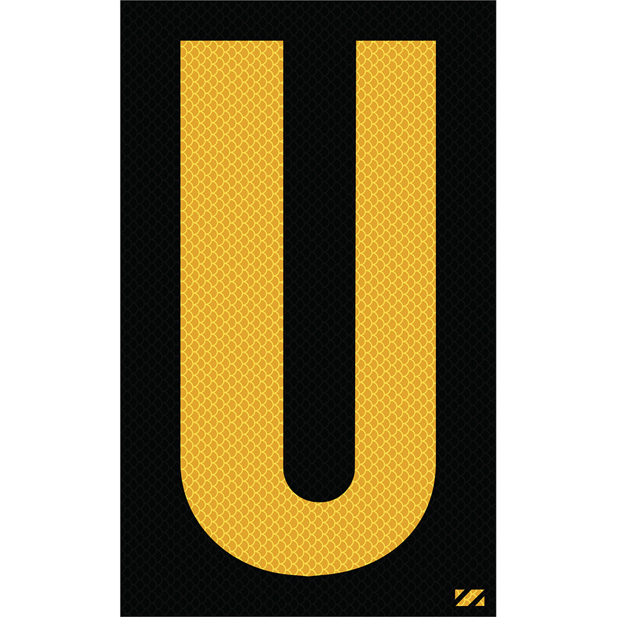 "2.5"" Yellow on Black High Intensity Reflective ""U"""