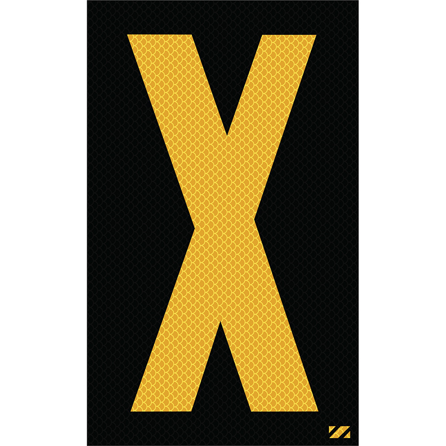 "2.5"" Yellow on Black High Intensity Reflective ""X"""