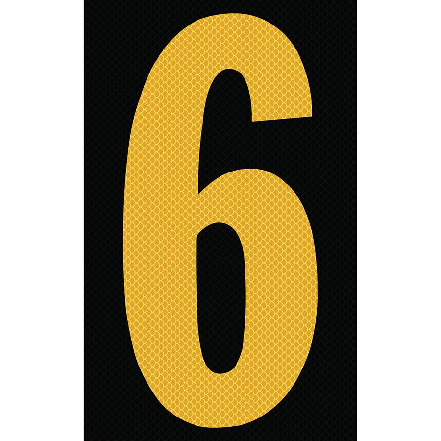 "3"" Yellow on Black High Intensity Reflective ""6"""