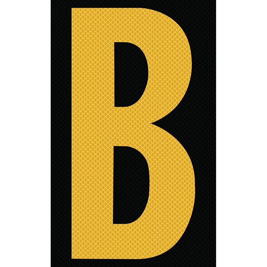 "3"" Yellow on Black High Intensity Reflective ""B"""