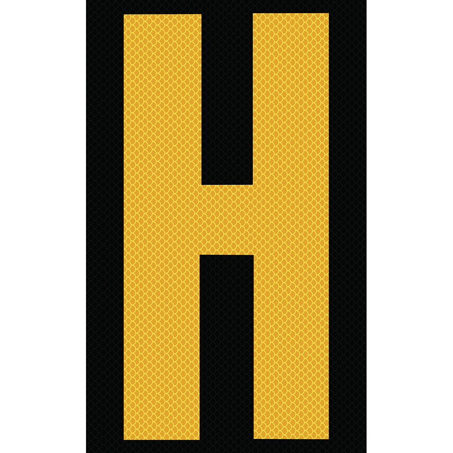 "3"" Yellow on Black High Intensity Reflective ""H"""