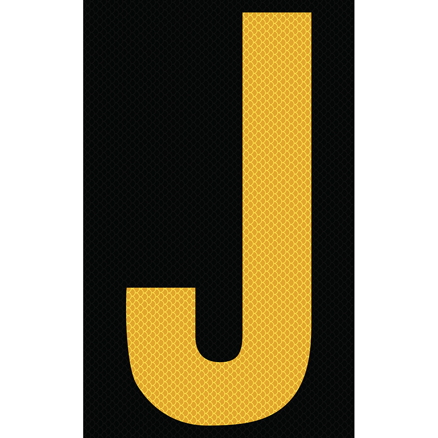 "3"" Yellow on Black High Intensity Reflective ""J"""