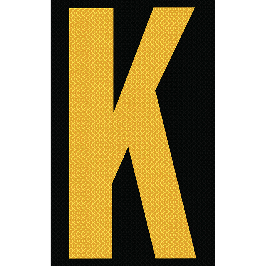 "3"" Yellow on Black High Intensity Reflective ""K"""