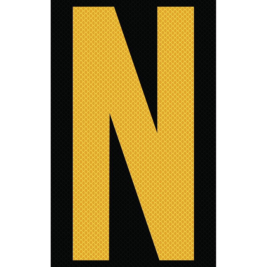 "3"" Yellow on Black High Intensity Reflective ""N"""