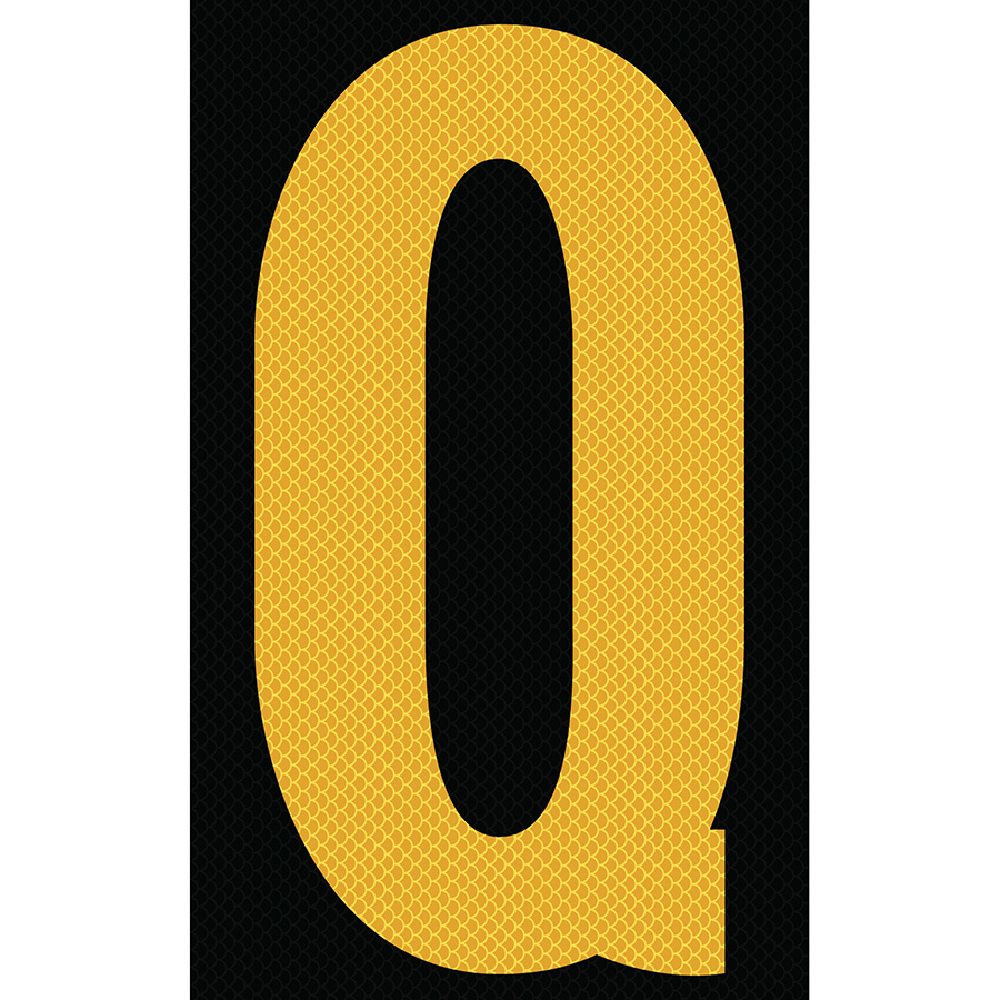 "3"" Yellow on Black High Intensity Reflective ""Q"""