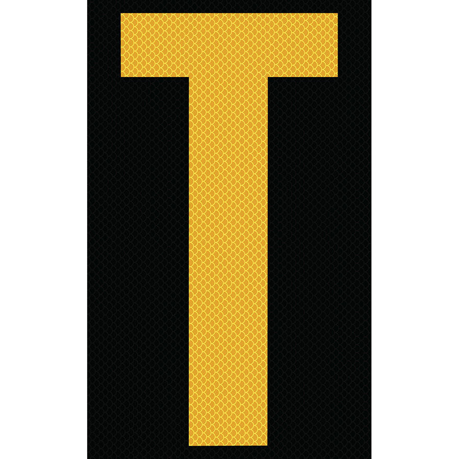 """3"""" Yellow on Black High Intensity Reflective """"T"""""""