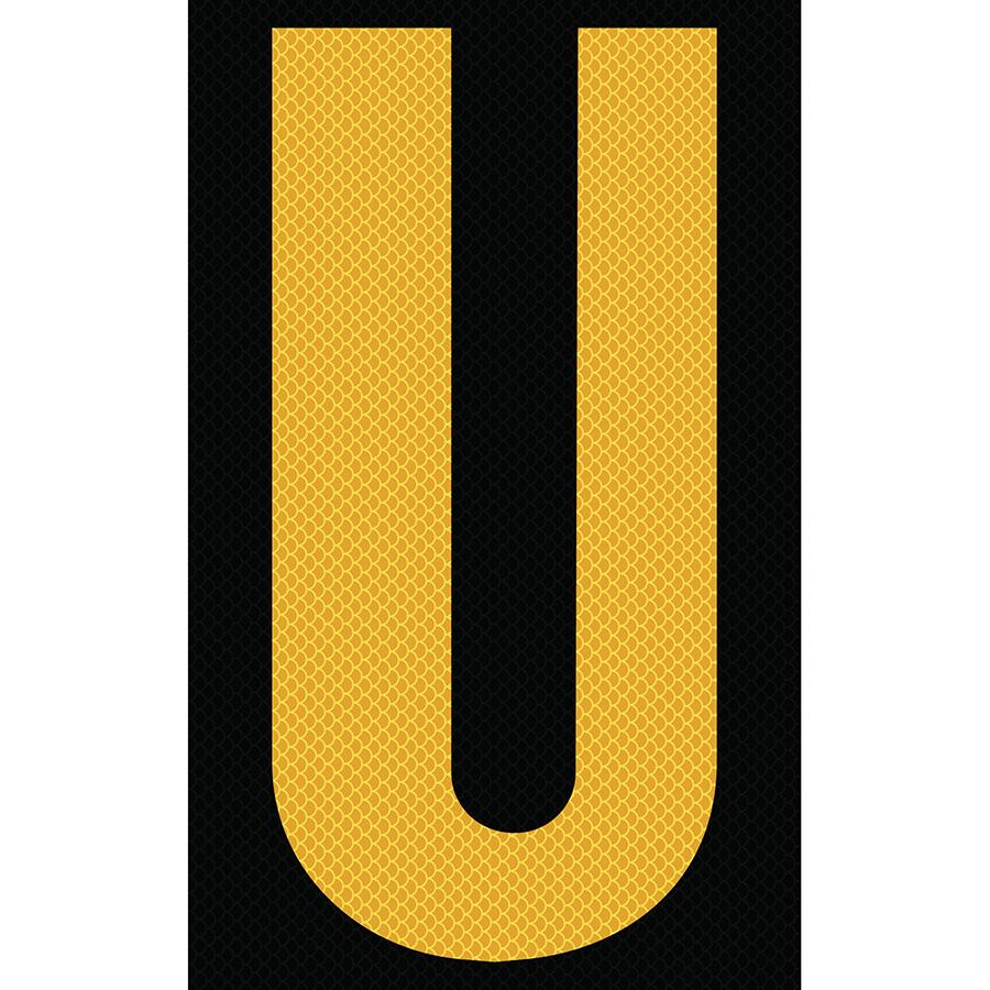 "3"" Yellow on Black High Intensity Reflective ""U"""