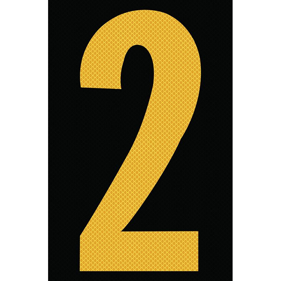 "4"" Yellow on Black High Intensity Reflective ""2"""