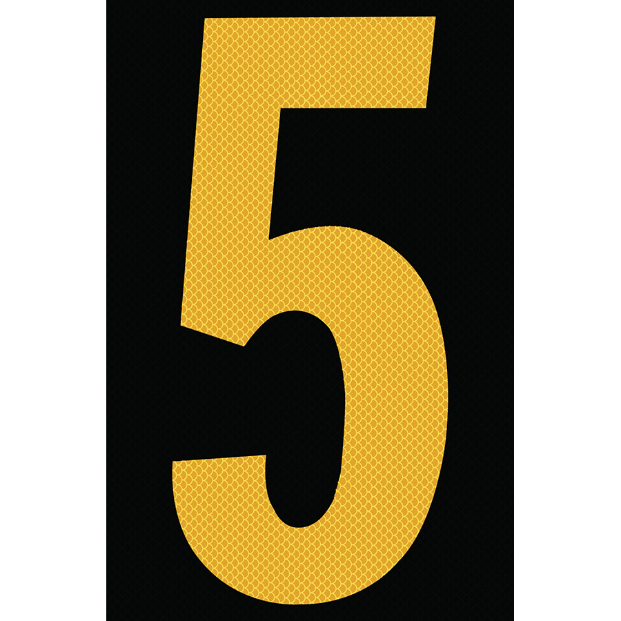 "4"" Yellow on Black High Intensity Reflective ""5"""