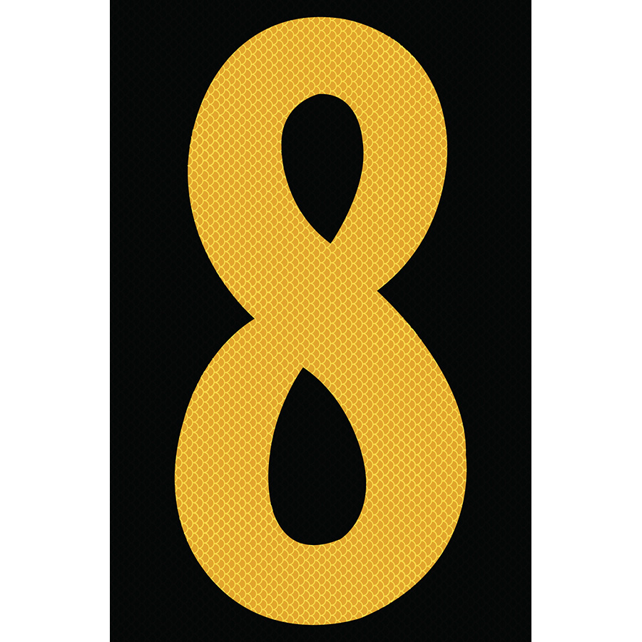 "4"" Yellow on Black High Intensity Reflective ""8"""