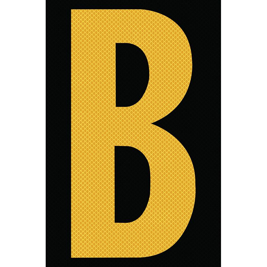 "4"" Yellow on Black High Intensity Reflective ""B"""