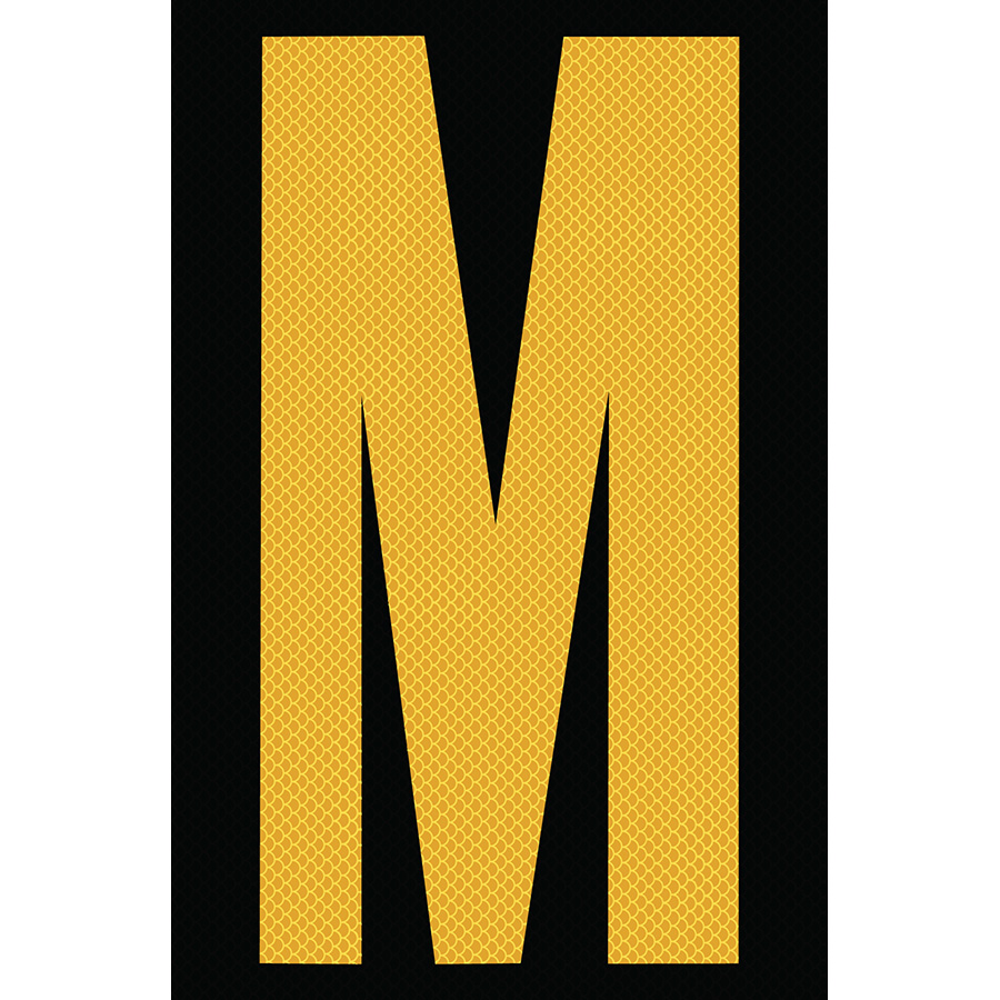 "4"" Yellow on Black High Intensity Reflective ""M"""