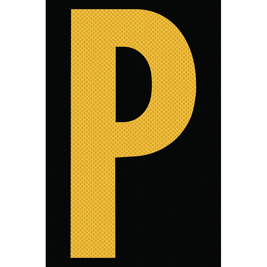 "4"" Yellow on Black High Intensity Reflective ""P"""