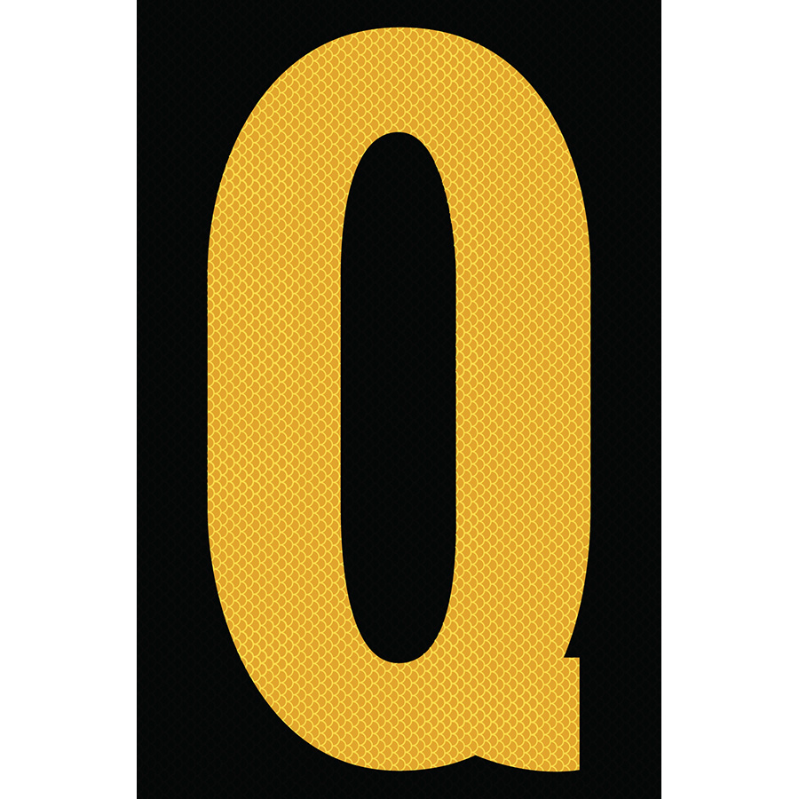 "4"" Yellow on Black High Intensity Reflective ""Q"""