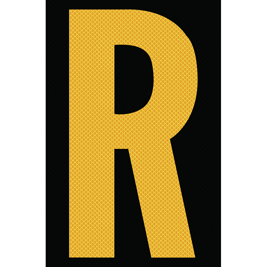 "4"" Yellow on Black High Intensity Reflective ""R"""