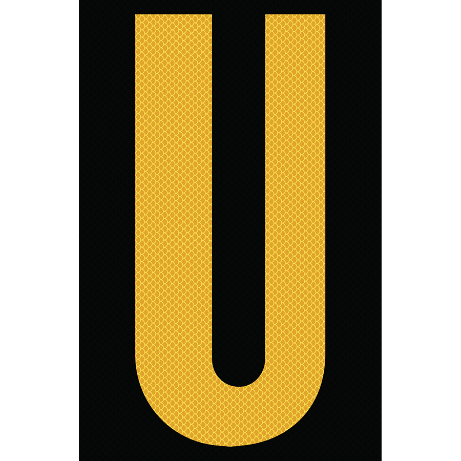 "4"" Yellow on Black High Intensity Reflective ""U"""