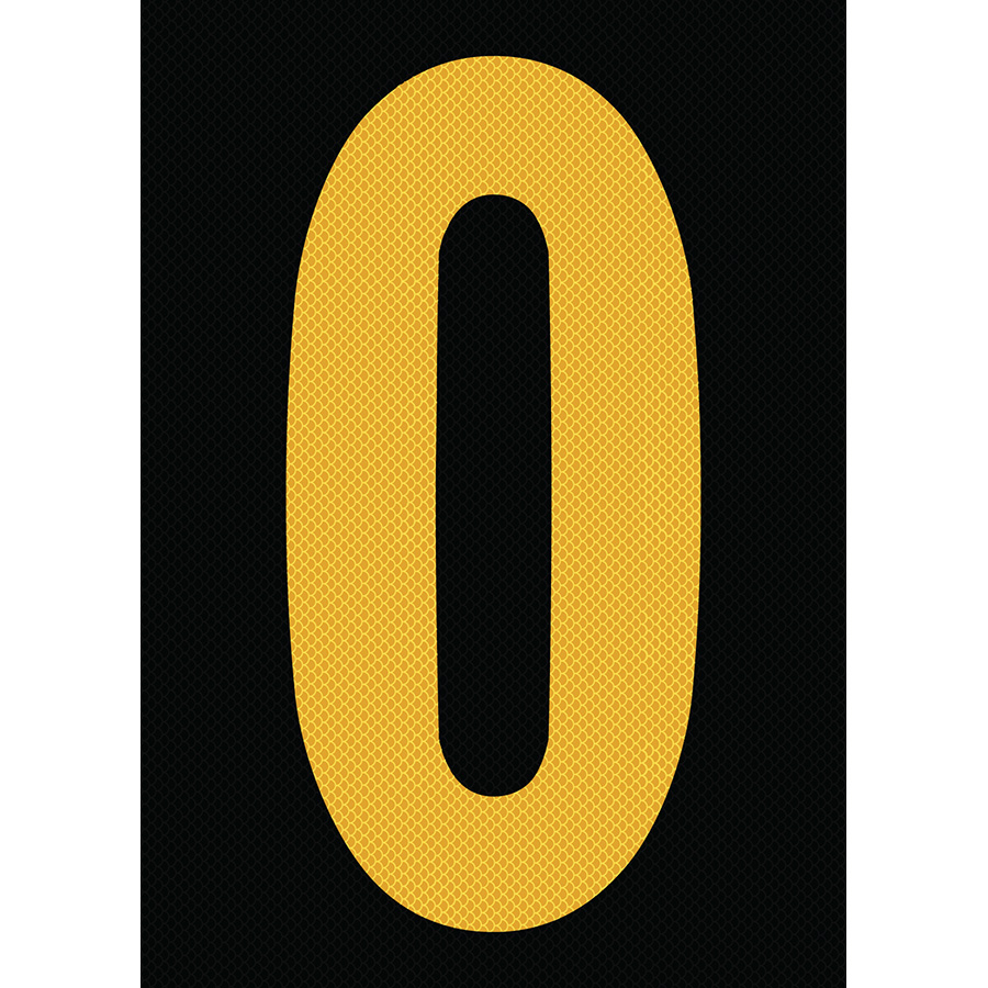 "6"" Yellow on Black High Intensity Reflective ""0"""