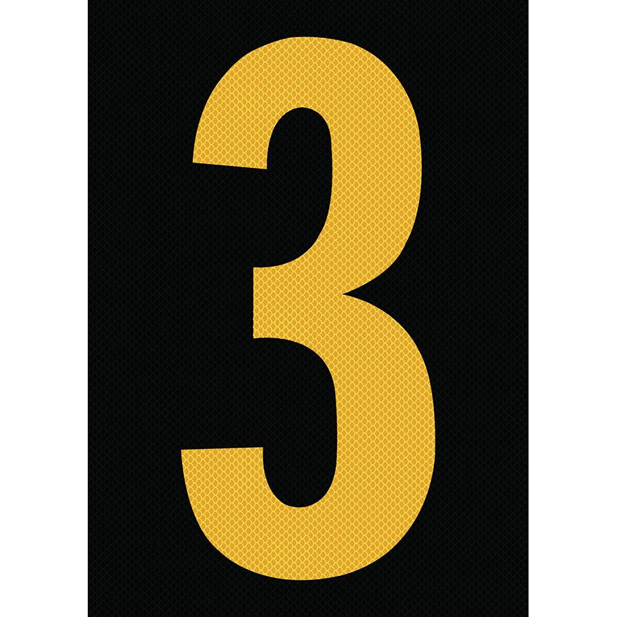 "6"" Yellow on Black High Intensity Reflective ""3"""