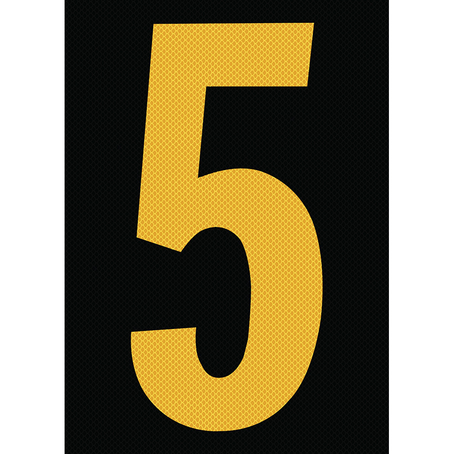 "6"" Yellow on Black High Intensity Reflective ""5"""