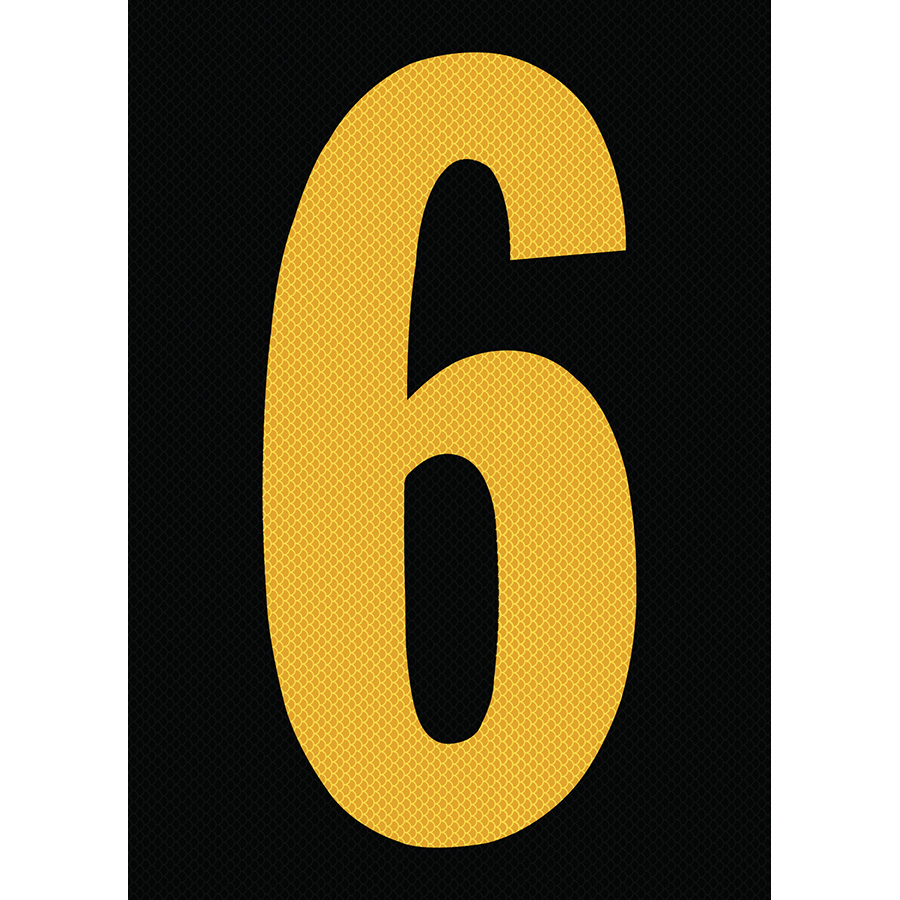 "6"" Yellow on Black High Intensity Reflective ""6"""