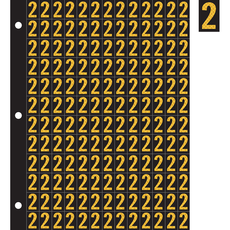 "0.78"" Yellow on Black High Intensity Reflective ""2"""