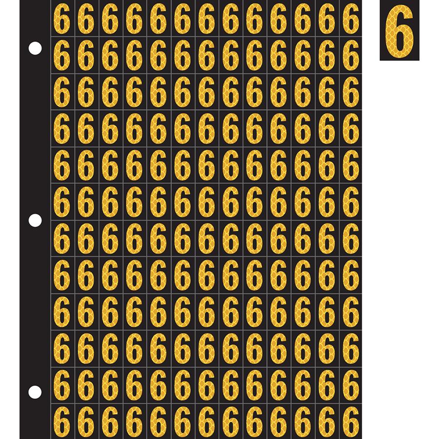 "0.78"" Yellow on Black High Intensity Reflective ""6"""