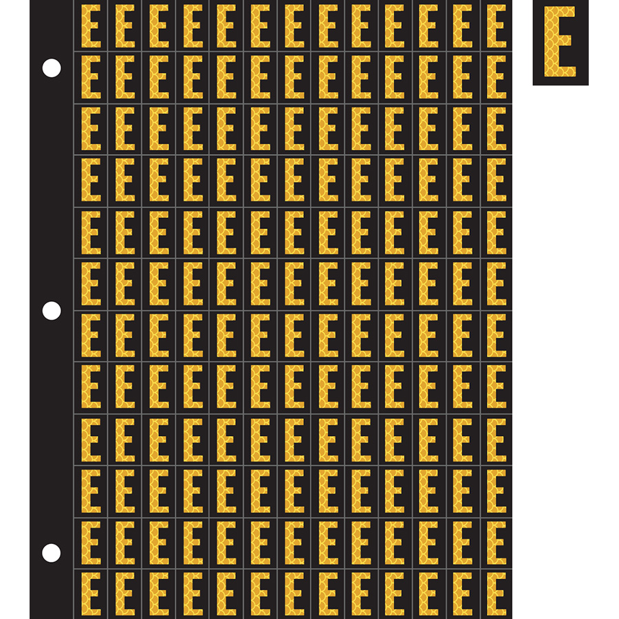 "0.78"" Yellow on Black High Intensity Reflective ""E"""