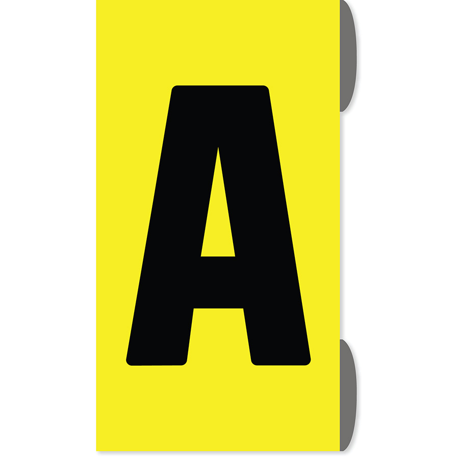 "1"" Black on Yellow Slip-On Markers A-Z"