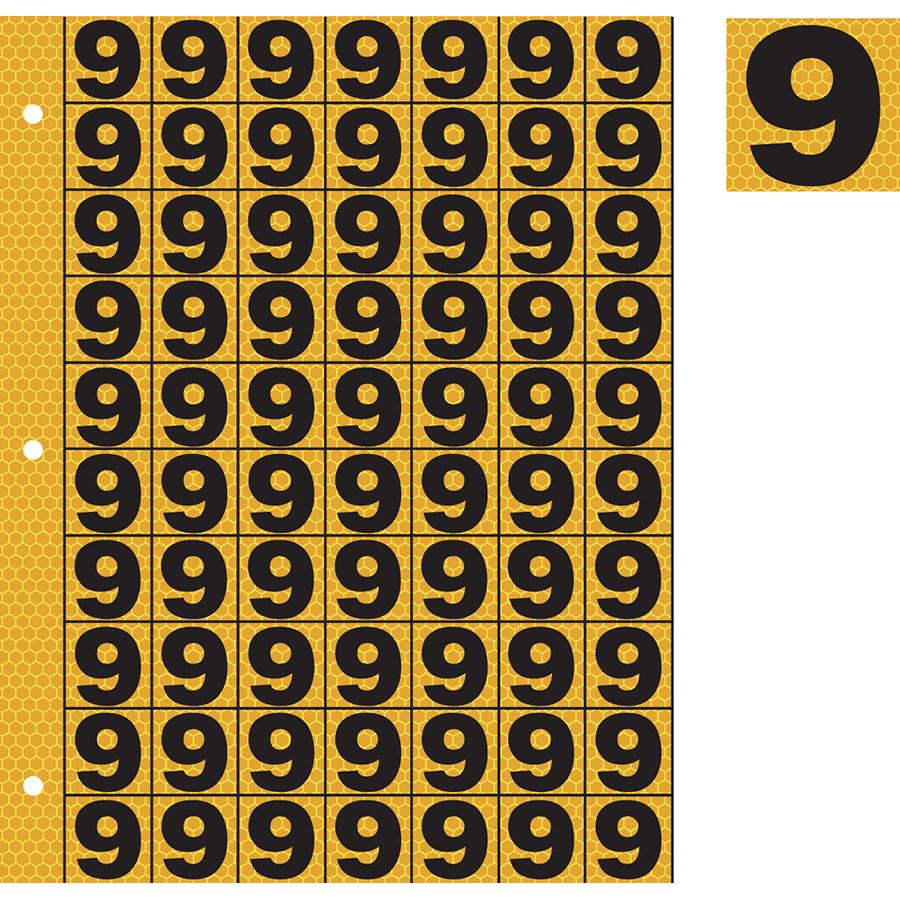 "1"" Black on Yellow SunBright® Reflective ""9"""